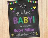Mardi Gras Baby Announcement PRINTABLE Pregnancy Chalkboard
