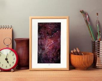 Leo, Zodiac Sign, Watercolor Print, 5x7, 8x10, Wall Art, Galaxy, Constellation, Stars, Astrology, Astronomy, Gift, Giclee Print