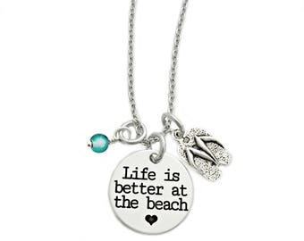 Life is Better at the Beach Necklace - Engraved Jewelry - Gift - Beach Jewelry - Flip Flop - Turquoise Sea Glass - Summer Beach Jewelry