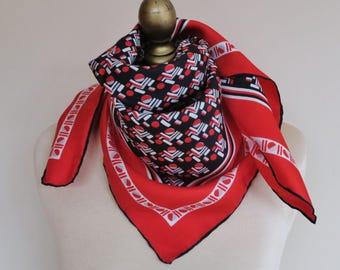 Geometric silk scarf, 1950s silk scarf, Italian square scarf, black and red scarf, ladies headscarf, rockabilly , hand rolled, 50s fashion