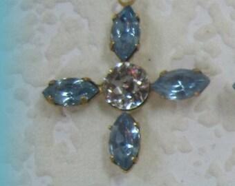Light Sapphire Crystal 26MM Rhinestone Jewel Navette Brass 5 Stone Pendant