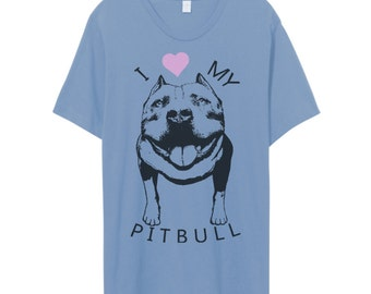Womens Vintage I lOVE my PIT BULL Bullie BullDog Short Sleeve Slouchy T shirt Tee screen print Top Alternative Apparel S M L XL More colors