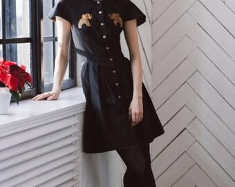 prom dress/ short sleeve dress/ summer dress/ black dress/womens casual summer dress/shirt dress/cotton dress/black shirt dress/elephant