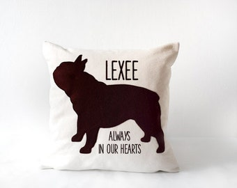Personalized french bulldog pillow with name and message, pet pillow, portrait pillow, frenchie pillow, pet portrait, personalized pillow