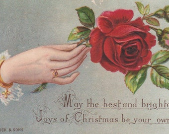 Christmas Wishes With A Hand Holding A Red Rose Victorian Album Card