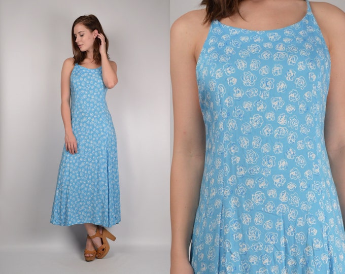 Vintage Floral Sun Dress w/ open back