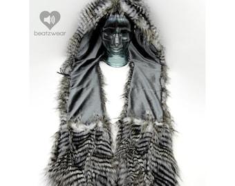 CUSTOM scoodie Owl feather hood faux fur hat owl hood owl hat feather fur hood