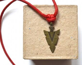 Arrow Head Necklace - Bronze Pendant - Tribal Style - for Women or for Men - Unisex - Handmade