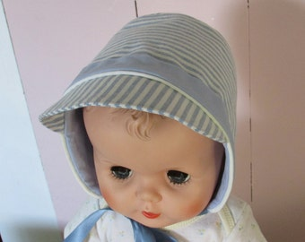 Baby Boy Bonnet, Baby Boy Cap, Baby Hat, Spring Summer Fall Cap for a Baby Boy, light weight hat, Size 12 months, light blue striped hat