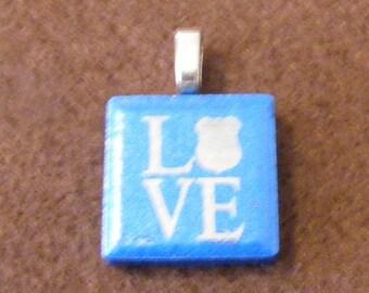 Police Love - Laser engraved Ceramic Tile Pendant