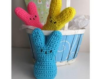 Easter Peeps Bunnies Set of 3 / Large Marshmallow Bunny Peeps / Easter Basket Peeps Bunny / Easter Bunny / Crochet Peeps Stuffed Bunny