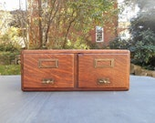 Dovetailed Oak Wood Two Drawer Library Card Catalog Dovetailed File Drawers Storage Cabinet Brass Drawer Pulls Label Holder