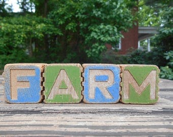 """Vintage Wooden Alphabet ABC Letter Blocks """"Farm"""" Country Farmhouse Decor Instant Collection Stacking Letters Rustic Gift Photo Prop Set of 4"""