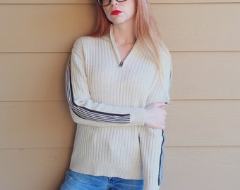 Hella 90's Grunge Zip Up Mock Neck Sweater Top // Women's size Small S