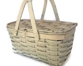 Vintage Bentwood Picnic Basket Woven Oak Wood Splint Basket Chippy White Paint Rustic Country Living