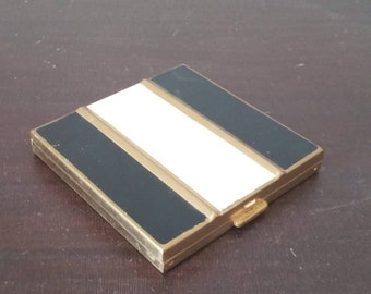 Vintage Black and White Enameled Mirrored Makeup Compact
