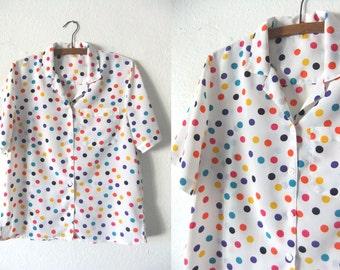 Rainbow Polka Dots Blouse - Open Collar Kawaii Style Abstract 90s Short Sleeve Button Down Shirt - Womens Large