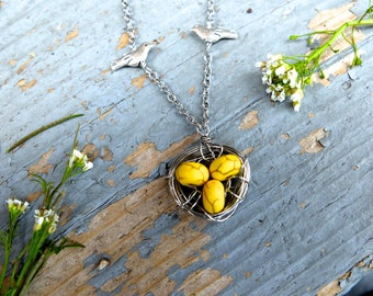 Three Egg Bird Nest Necklace with Yellow Speckled Beads / Mother's Day Gift / Mother's Day Bird Nest Necklace