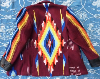 Amazing Manuel Exclusive Clothier, Chimayo style men's jacket 37-38 Small. Leather cuffs Buck horn buttons. Southwestern coat. Manuel Cuevas