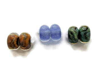 Boro Glass Lampwork Beads, Three Pairs, Encased Triangle and Shimmery Bubble Lampwork Beads, 8-9mm x 14-15mm Beads, Borosilicate Glass Beads
