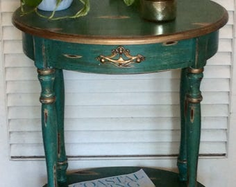 Turquoise Shabby Chic Oval Nightstand/End Table 1940s