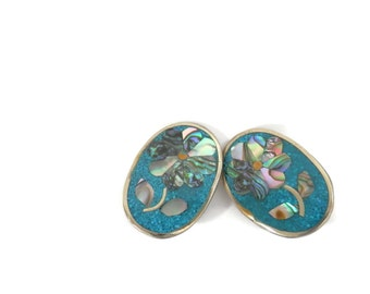 Vintage Mexican Silver Clip On Earrings Abalone Flowers and Turquoise Ground