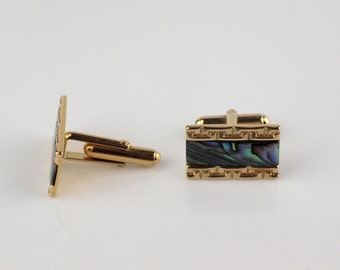 Gold Tone Rectangular Engine Cut with Abalone Mens Cufflinks with Flip Back Cuff Links