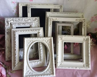 White Painted Picture Frames -  set of 9 - ORNATE -  shabby chic frames - What you see is what you get, WEDDING, French Country