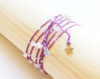gemstone & crystal yoga wrap bracelet Sahasrara crown chakra