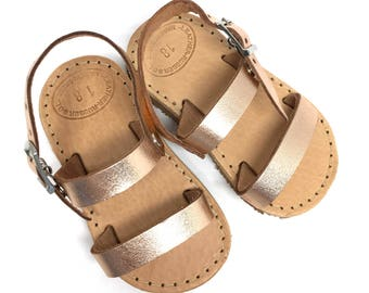 Baby Sandals. Summer leather sandals. Sandals for girls. Rose gold sandals. Flat sandals.Greek leather sandals. Baby shoes. Baby girl sandal
