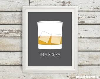 This Rocks, Scotch on the Rocks, Scotch Glass, Husband Gift, Home Bar Art, Cocktail Poster, Alcohol Art, Man Cave Decor, Home Decor, Scotch