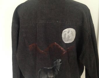 Vintage Wolf Full Moon Mountains Hand-painted 80s Black Denim Jacket