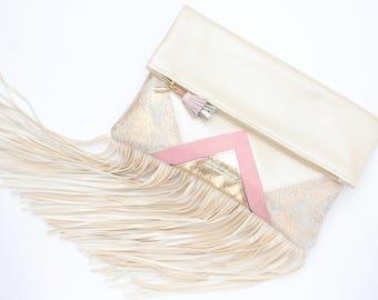 Large leather bag. Fringe clutch bag. Fold over clutch. Statement bag. Oversized purse. Metallic natural leather. Nude handbag./CARRIER 13
