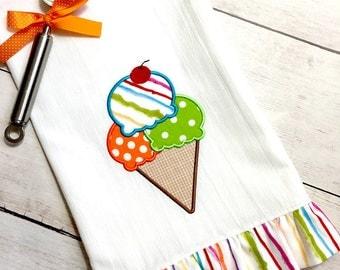 Ice Cream Dish Towel - Kitchen Towel - Tea Towel - Flour Sack Towel -  Ice Cream Cone Towel - Ice Cream Tea Towel - Kitchen Linens - Linens