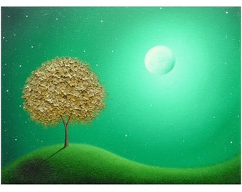 Gold Tree Oil Painting, Modern Abstract Landscape, Green Night, ORIGINAL Tree Painting, Textured Contemporary Art, Whimsical Moon Art, 12x16