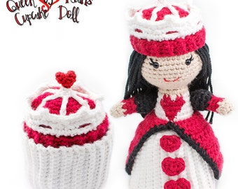 Amigurumi Crochet Queen of Hearts Valentine's Day Cupcake Topsy-Turvy Doll Toy Pattern