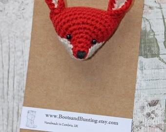 Hand Knitted / Crochet Cute Fox Head Brooch Pin - Handmade in the UK