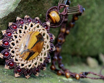 Goddess mandala fairy princess massive tiger eye necklace