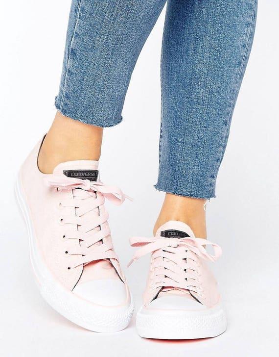 Custom Vapor Pink Converse Low Tops Blush Rose Wedding Bling w/ Swarovski Crystal Rhinestone Jewel Chuck Taylor All Star Sneaker Shoe