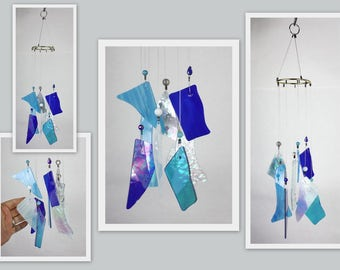 Wind Chime, Stained Glass Chime, Glass Windchime, Multi Color, Iridescent Blues. Garden Decor, Home Decor