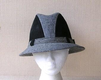Vintage Pendelton Hat, Pure Virgin Wool . Black & Gray Hat . AS IS
