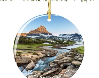 Glacier National Park Christmas Ornament of Montana in Porcelain, Double Sided 2.75 Inches