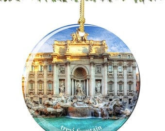 Trevi Fountain Christmas Ornament of Rome Italy in Porcelain, Double Sided 2.75 Inches