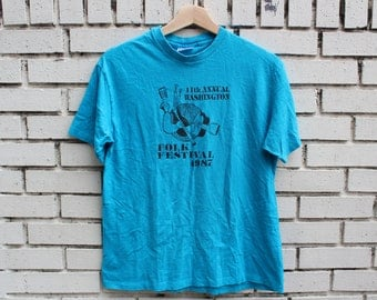 Vintage WASHINGTON FOLK FESTIVAL Shirt 1987 Size L Large Outdoor district of columbia live