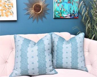 Peter Dunham Fez Blue on Blue Cover - Teal Blue Stripe Linen - Designer Blue Pillow Cover - Motif Pillows - Global homedecor