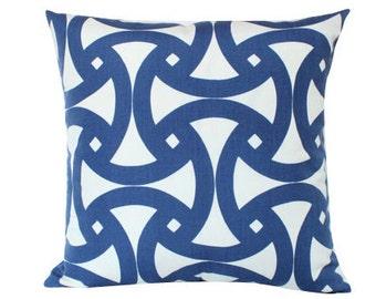 Santorini Marine Blue Geometric Pillow Cover with Trina Turk Fabric