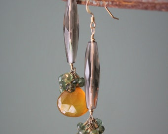 Smoky quartz and golden chalcedony earrings on gold filled wire