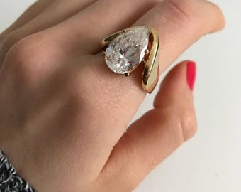 Vintage statement diamond gold drop 14K GE ESPO Joseph Esposito ring size 8/9
