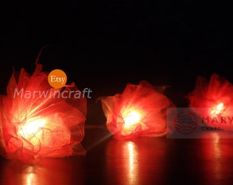 Battery or Plug 20 Orange Carnation Fairy String Lights Hanging Party Patio Wedding Garland Gift Home Living Bedroom Holiday Decor 3.5m