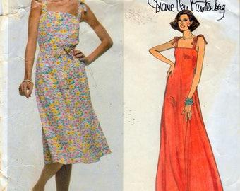 """Vintage 1973 Vogue 1638 Diane Von Furstenberg American Designer Original Dress Sewing Pattern Size 12 Bust 34"""""""